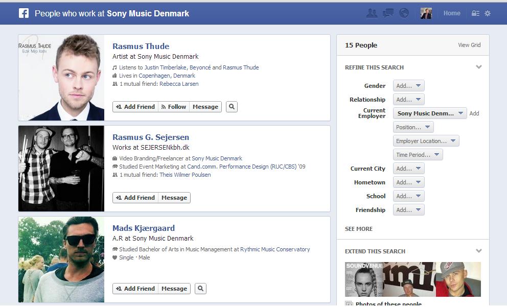 Søgning efter medarbejder med Facebook graph search